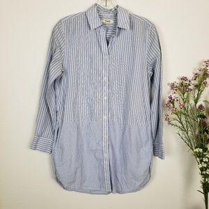Madewell | Mixed stripe button down tunic shirt XS